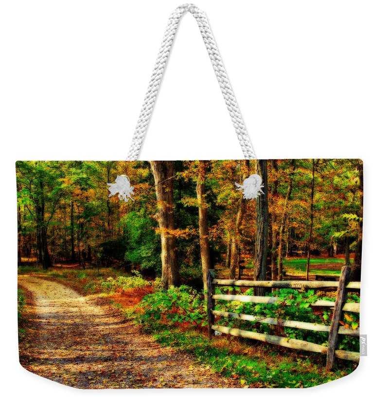 Autumn Weekender Tote Bag featuring the photograph Autumn Moment - Allaire State Park by Angie Tirado