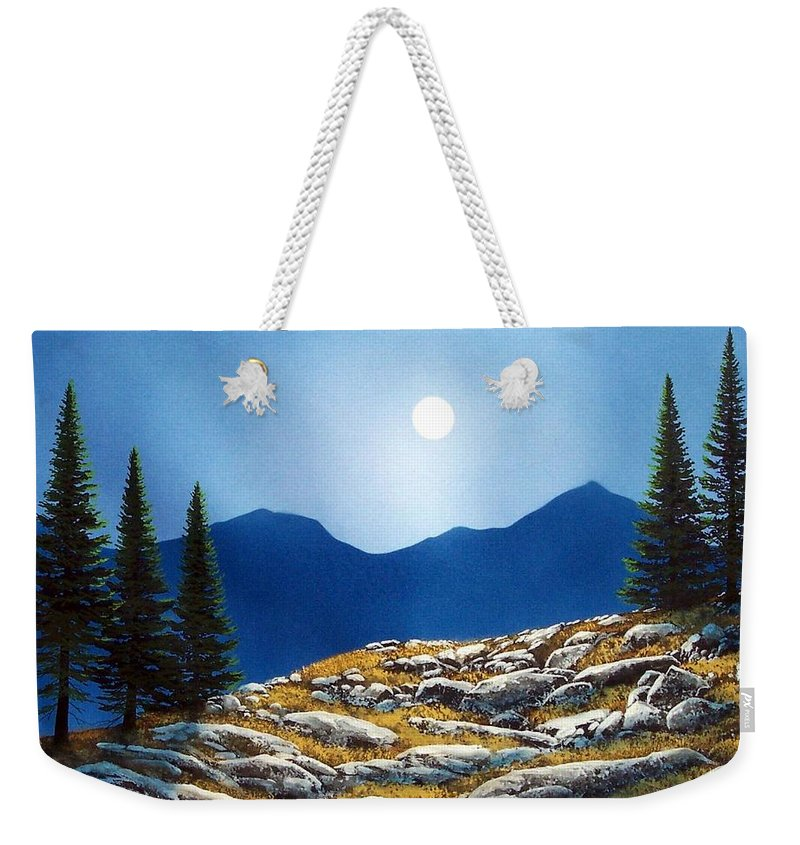 Landscape Weekender Tote Bag featuring the painting Autumn Moon by Frank Wilson