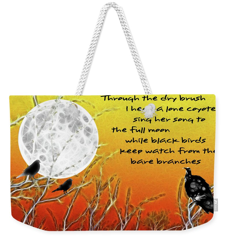 Autumn Moon Weekender Tote Bag featuring the painting Autumn Moon by Methune Hively