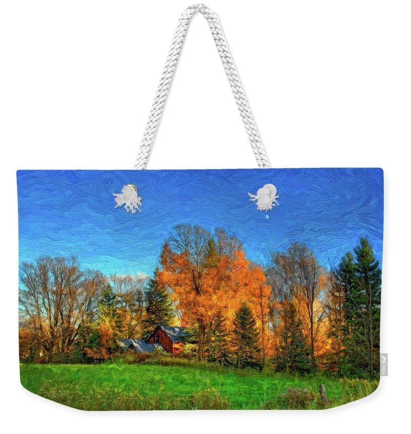 Moon Weekender Tote Bag featuring the photograph Autumn Moon Rising by Steve Harrington