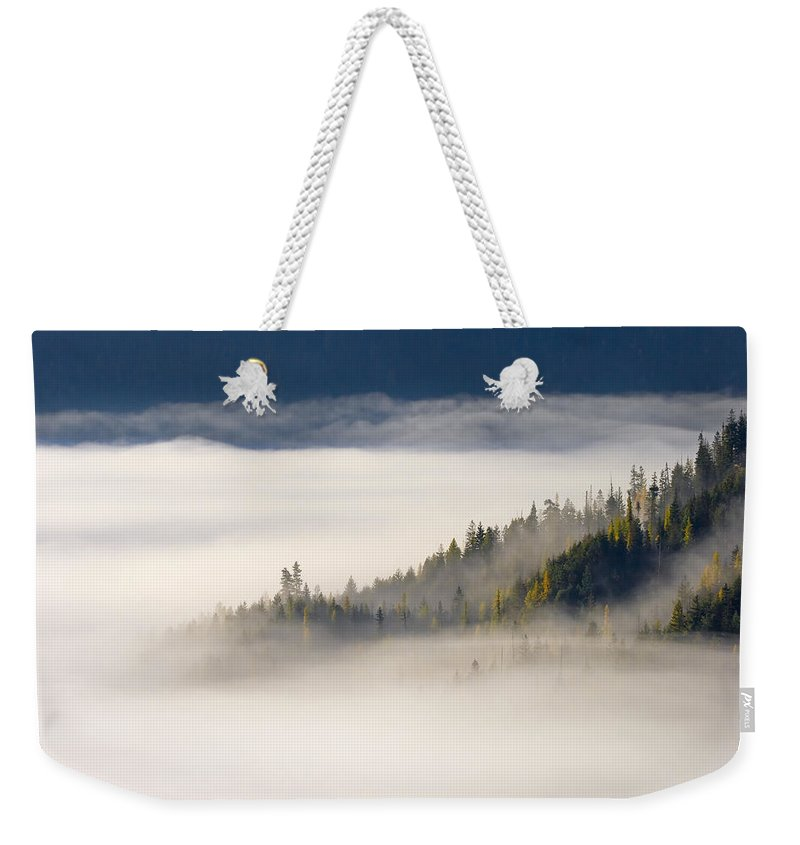 Fog Weekender Tote Bag featuring the photograph Autumn Morn by Mike Dawson