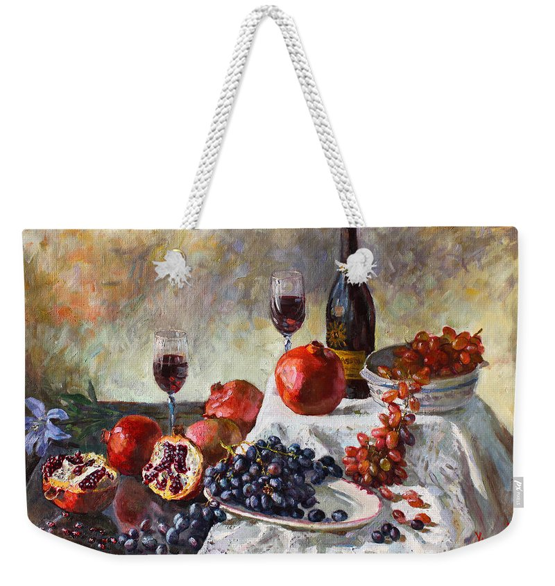 Still Life Weekender Tote Bag featuring the painting Autumn N' A Flower by Ylli Haruni