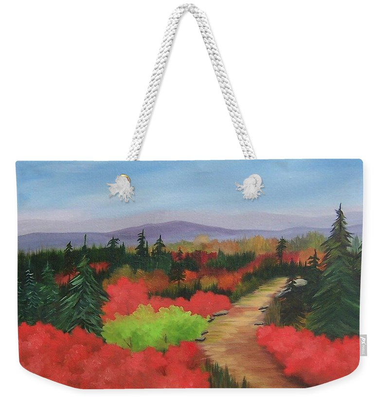 Landscape Weekender Tote Bag featuring the painting Autumn On Dolly Sods by Ruth Housley