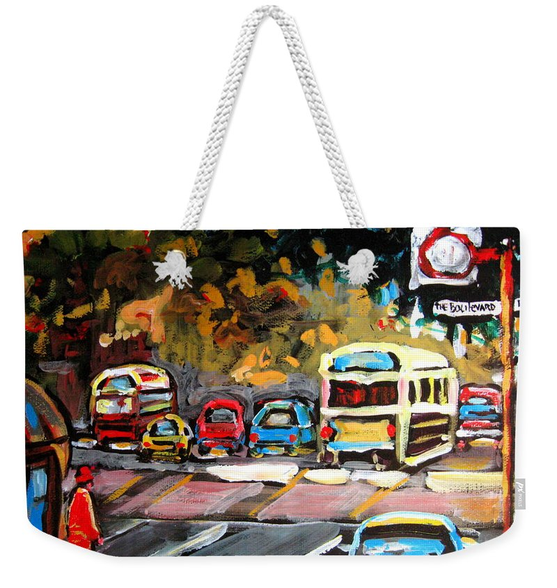 Montreal Weekender Tote Bag featuring the painting Autumn On The Boulevard by Carole Spandau