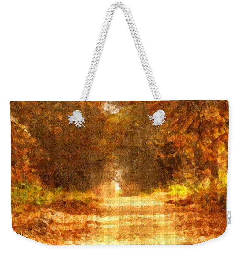 Autumn Weekender Tote Bag featuring the mixed media Autumn Paradisium by Georgiana Romanovna