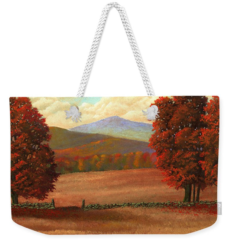 Autumn Weekender Tote Bag featuring the painting Autumn Pastures by Frank Wilson
