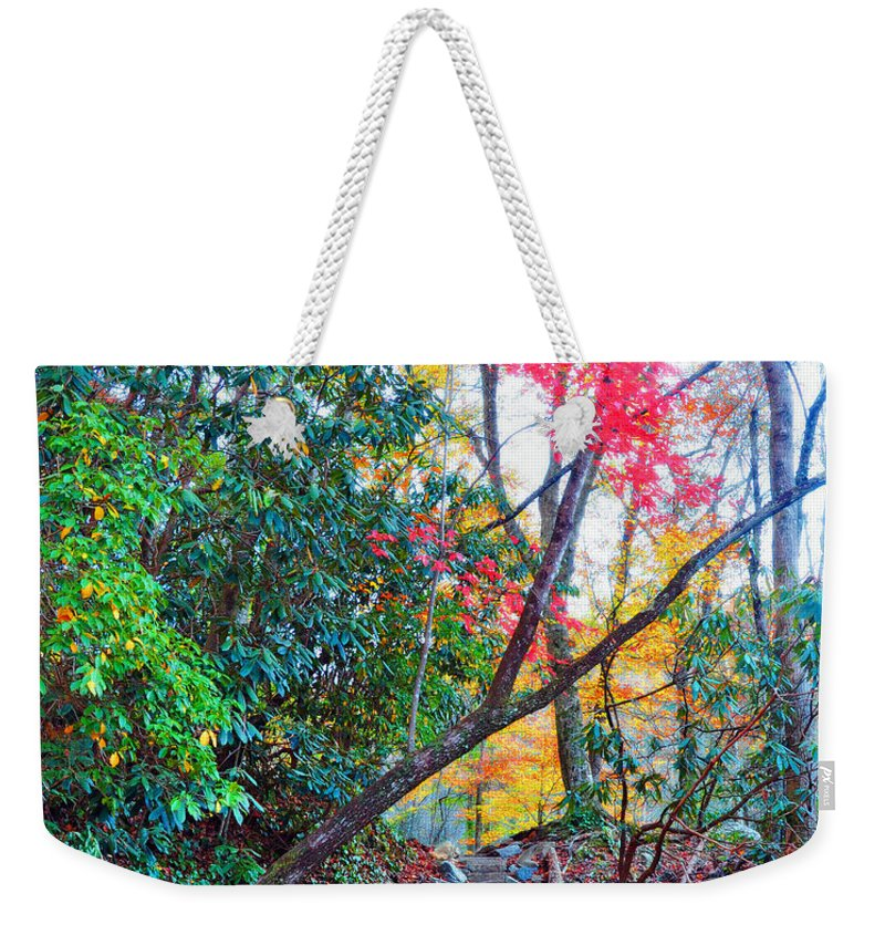 Smokey Mountain Weekender Tote Bag featuring the photograph Autumn Pathway by Brittany Horton