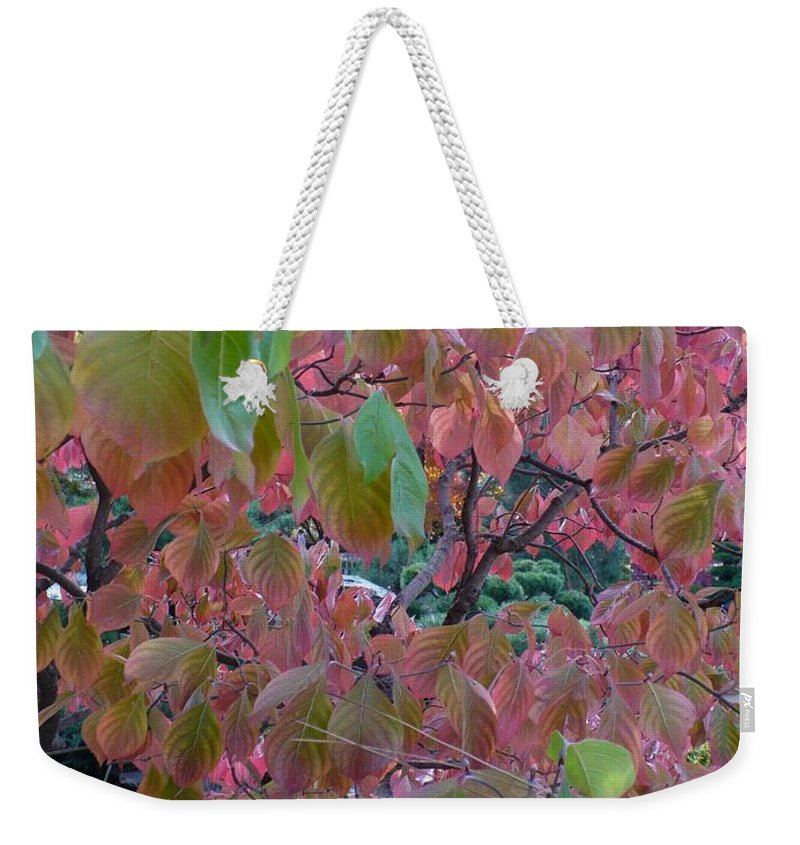 Fall Weekender Tote Bag featuring the photograph Autumn Pink Poster by Carol Groenen