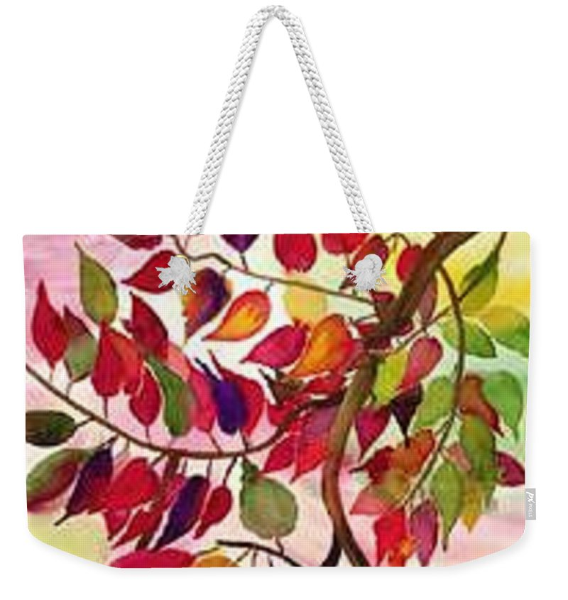 Fall Colors In The North East Weekender Tote Bag featuring the painting Autumn by Pratibha Garewal