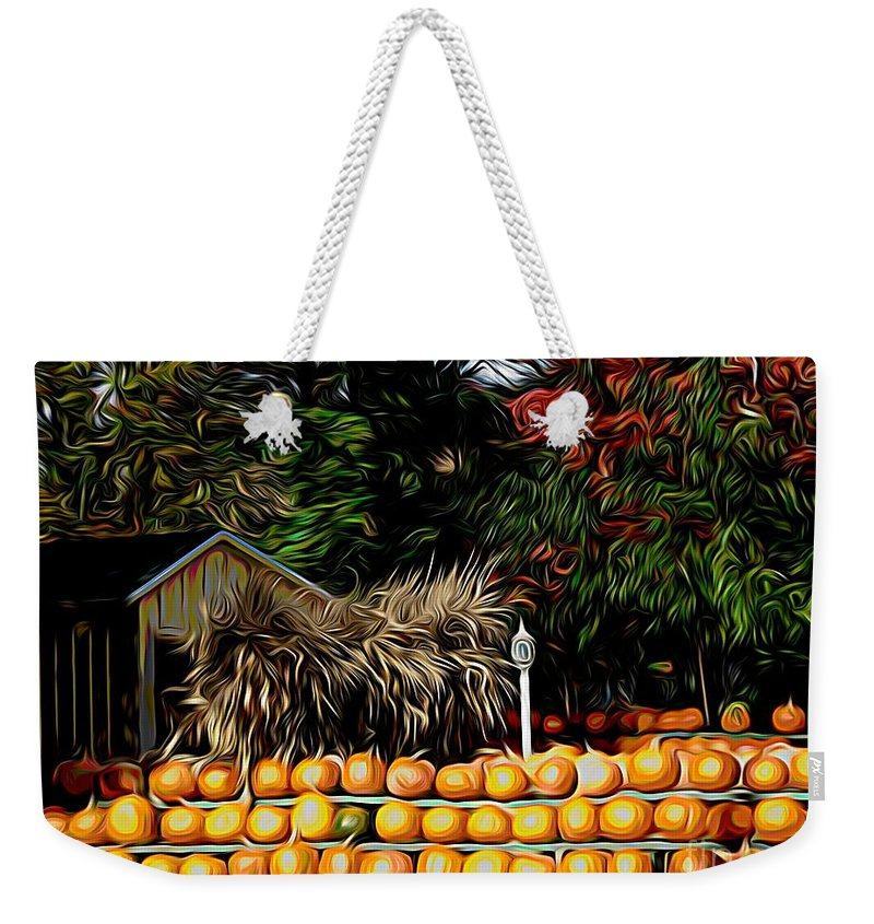Autumn Pumpkins And Cornstalks Graphic Effect Weekender Tote Bag featuring the mixed media Autumn Pumpkins And Cornstalks Graphic Effect by Rose Santuci-Sofranko