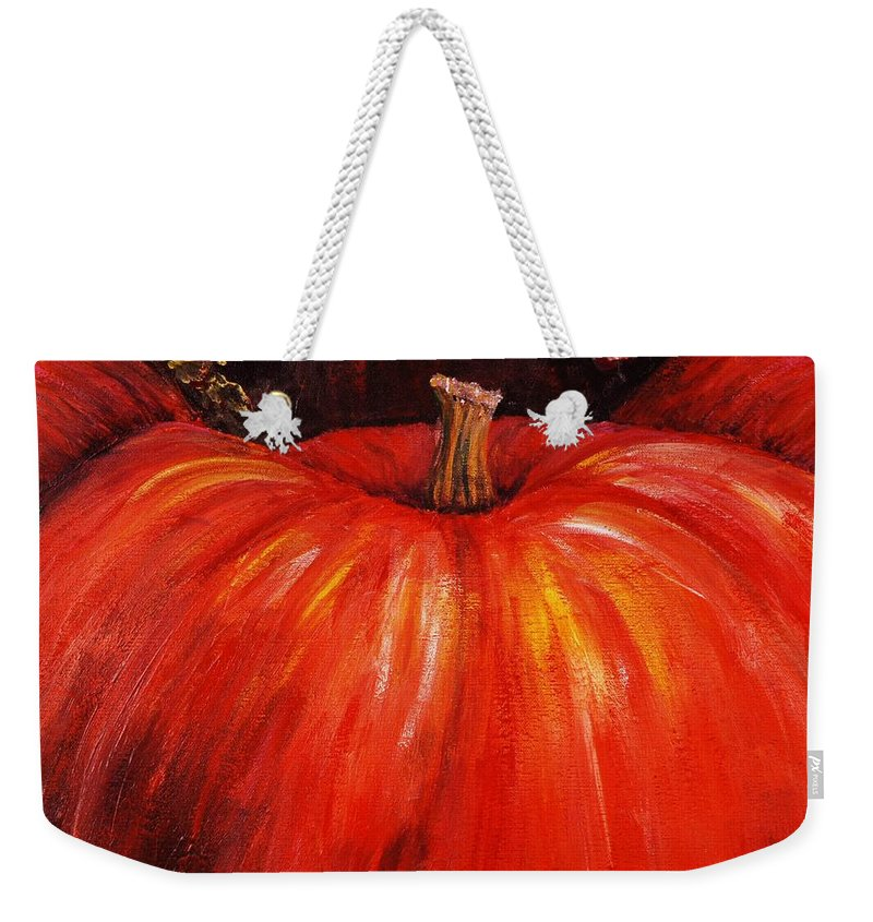 Orange Weekender Tote Bag featuring the painting Autumn Pumpkins by Nadine Rippelmeyer