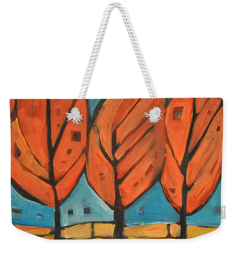 Trees Weekender Tote Bag featuring the painting Autumn Quilt by Tim Nyberg