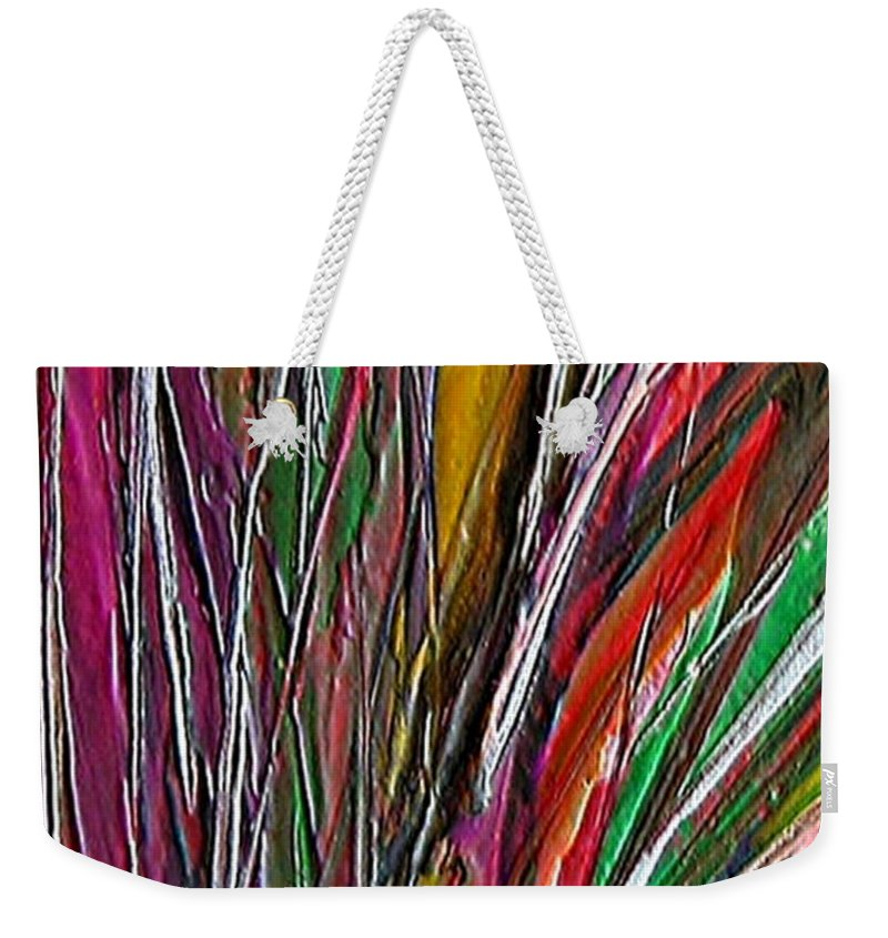 Encaustic Painting Weekender Tote Bag featuring the painting Autumn Reeds by Dragica Micki Fortuna