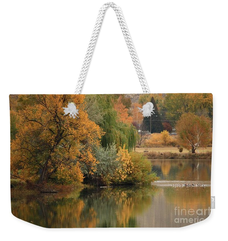 Autumn Weekender Tote Bag featuring the photograph Autumn Reflection 41 by Carol Groenen