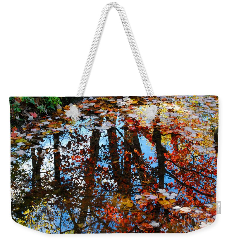 Autumn Weekender Tote Bag featuring the photograph Autumn Reflections by Nancy Mueller