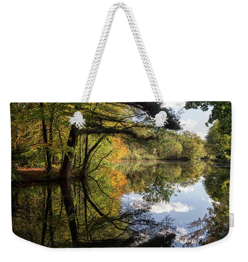 Autumn Weekender Tote Bag featuring the photograph Autumn Reflections by Shirley Mitchell