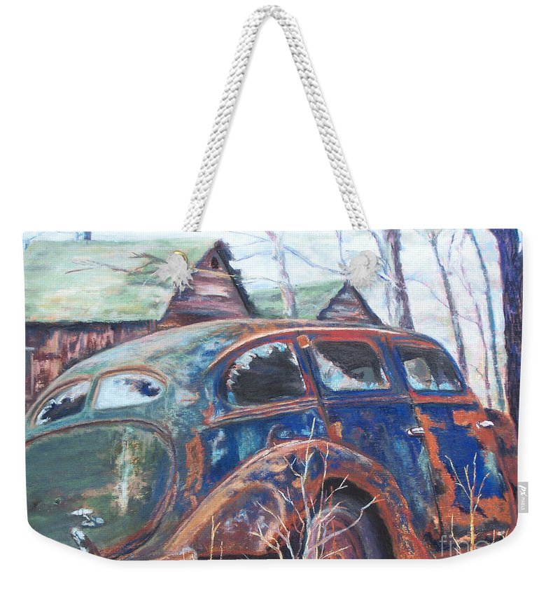 Vintage Auto Weekender Tote Bag featuring the pastel Autumn Retreat - Old Friend Vi by Alicia Drakiotes