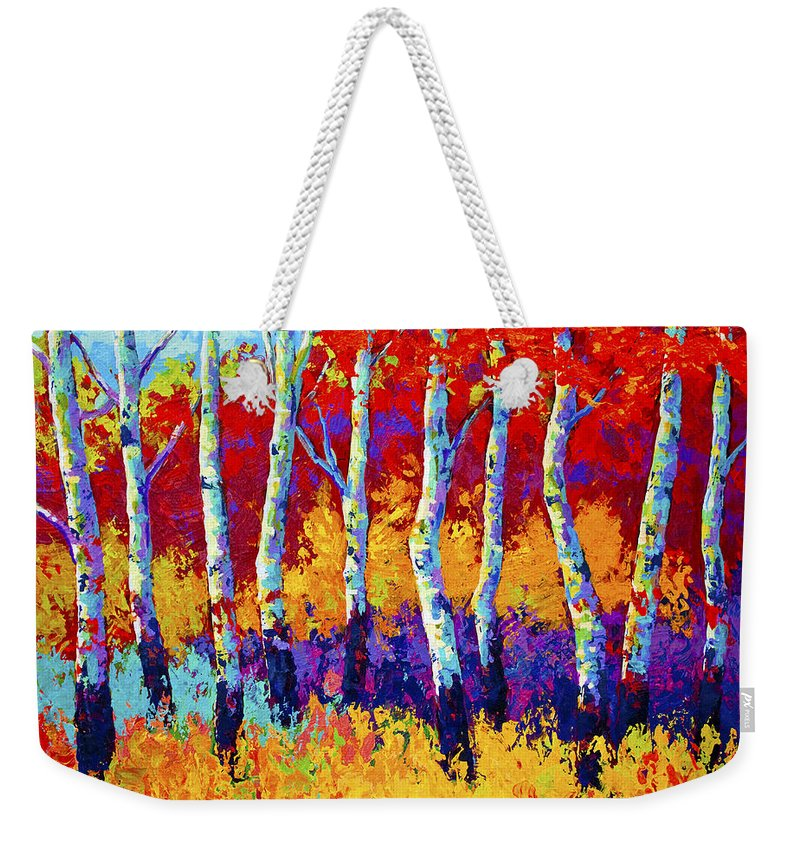 Trees Weekender Tote Bag featuring the painting Autumn Riches by Marion Rose