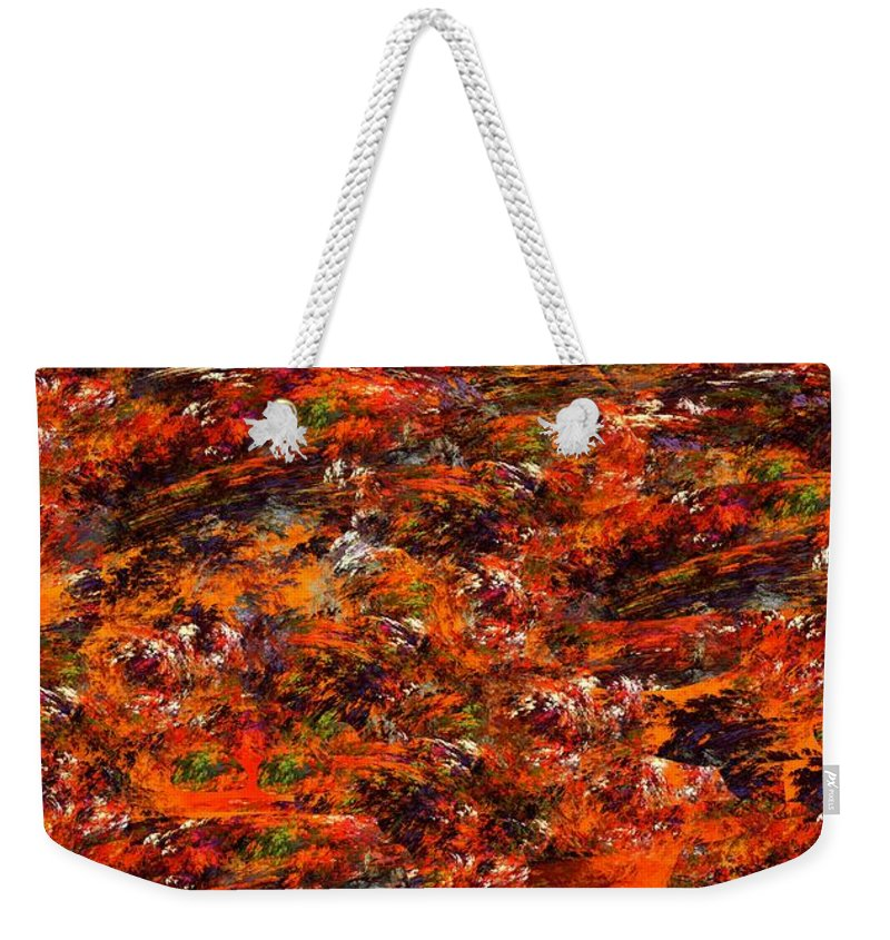 Abstract Digital Painting Weekender Tote Bag featuring the digital art Autumn Riot by David Lane