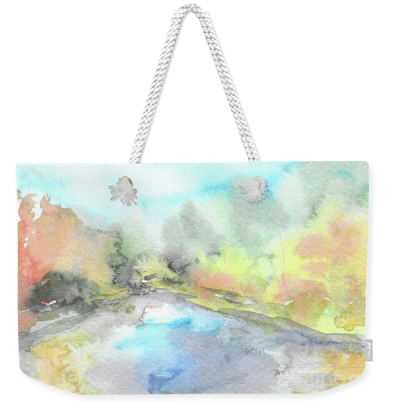 River Weekender Tote Bag featuring the painting Autumn River by Yana Sadykova