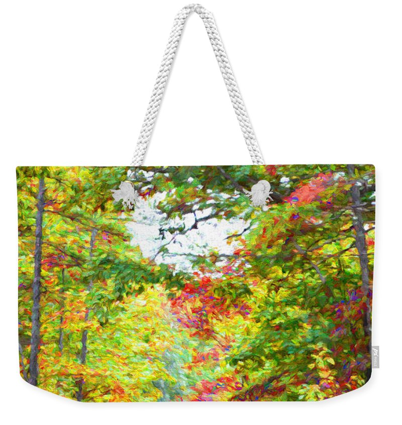 Autumn Weekender Tote Bag featuring the photograph Autumn Road - Digital Paint by Debbie Portwood