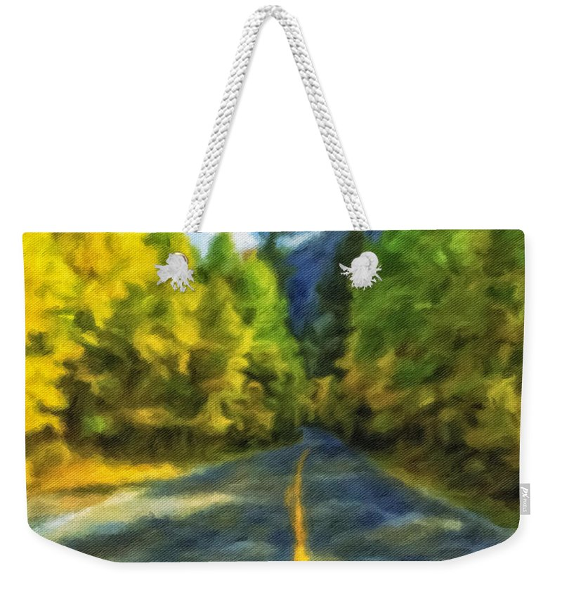 Fall Weekender Tote Bag featuring the photograph Autumn Road by Jonathan Nguyen