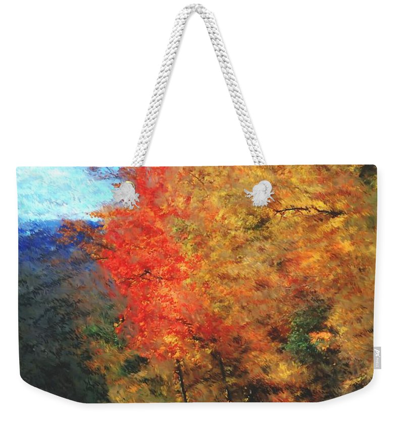 Digital Photograph Weekender Tote Bag featuring the digital art Autumn Roadside by David Lane