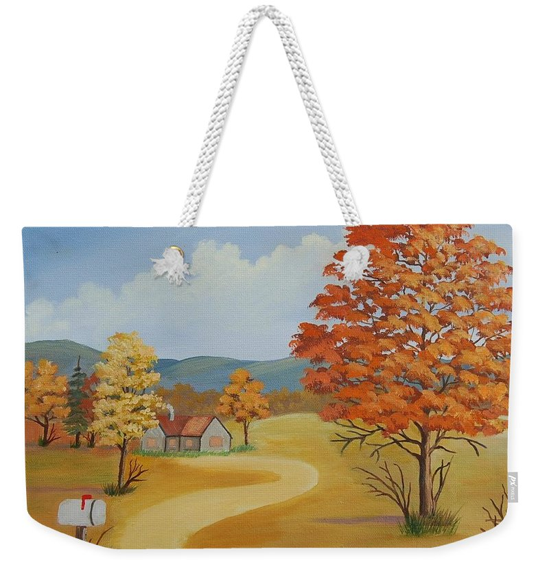 Landscape Weekender Tote Bag featuring the painting Autumn Season by Ruth Housley