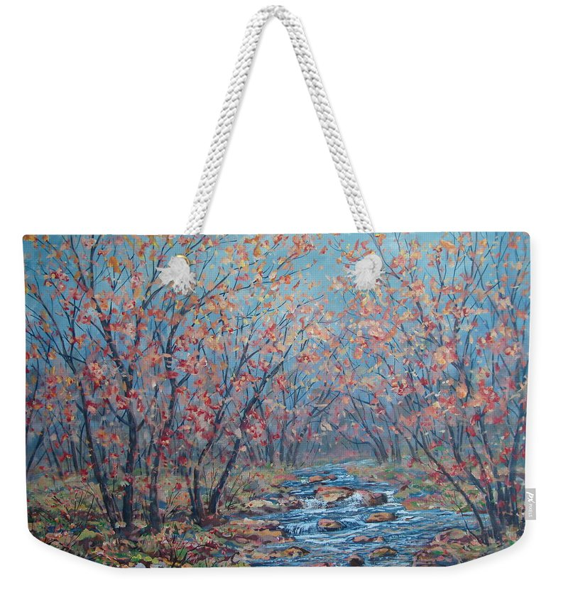 Landscape Weekender Tote Bag featuring the painting Autumn Serenity by Leonard Holland