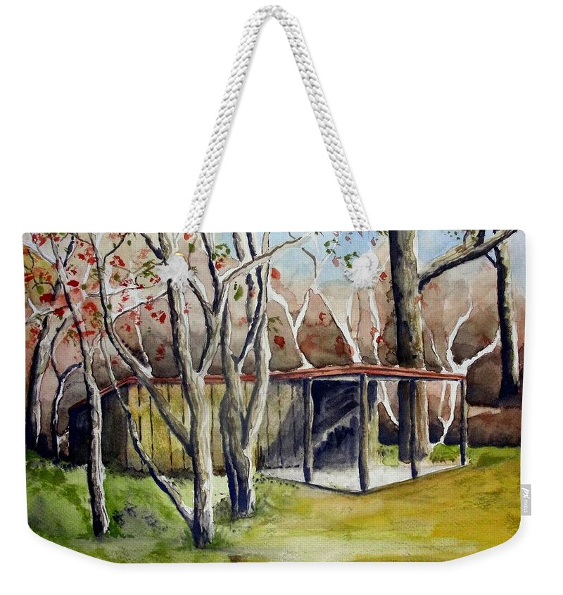Autumn Weekender Tote Bag featuring the painting Autumn Shed by Jimmy Smith