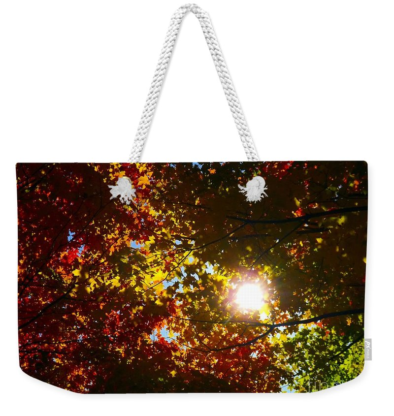 Abstract Weekender Tote Bag featuring the photograph Autumn Sky by Robyn King