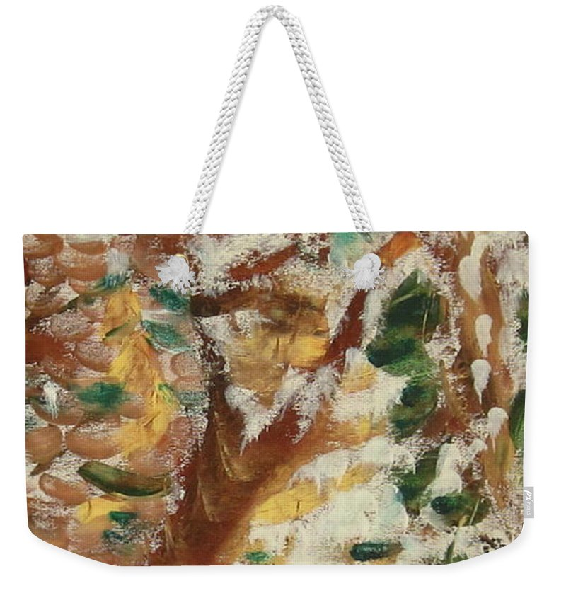 Fall Weekender Tote Bag featuring the painting Autumn Snow II by Patricia Cleasby