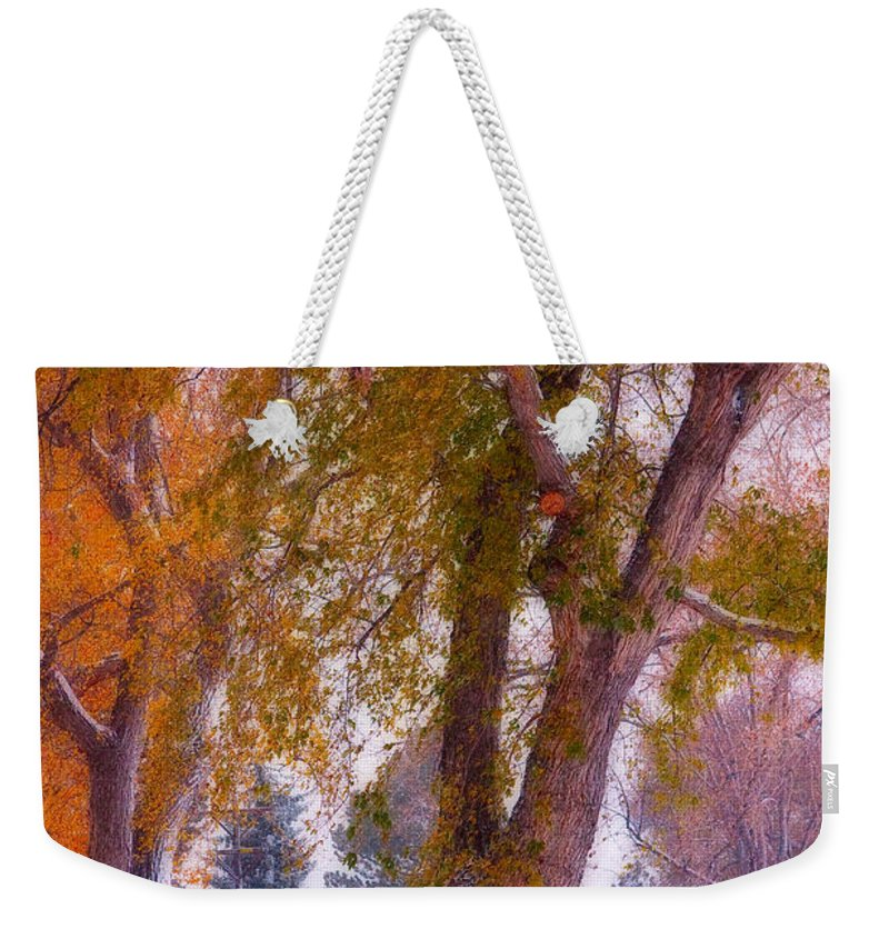 Parks Weekender Tote Bag featuring the photograph Autumn Snow Park Bench Peace by James BO Insogna