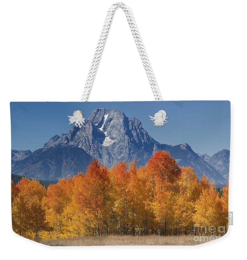 Grand Teton Weekender Tote Bag featuring the photograph Autumn Splendor In Grand Teton by Sandra Bronstein