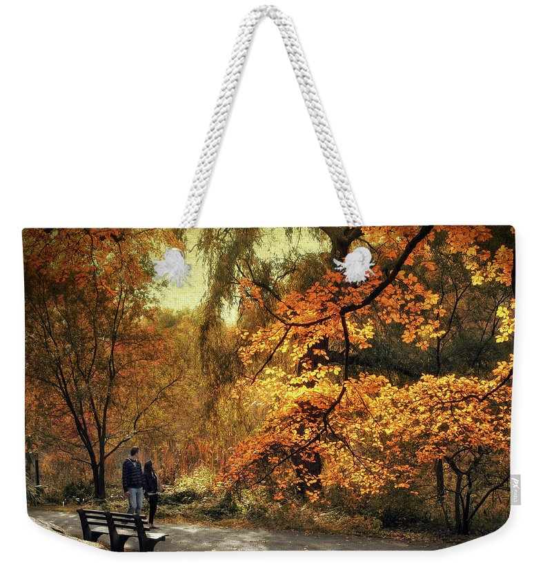 Nature Weekender Tote Bag featuring the photograph Autumn Splendor Promenade by Jessica Jenney