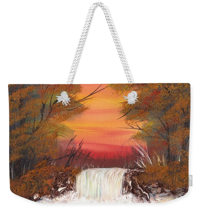 Autumn Landscape Weekender Tote Bag featuring the painting Autumn Stream by Jim Saltis