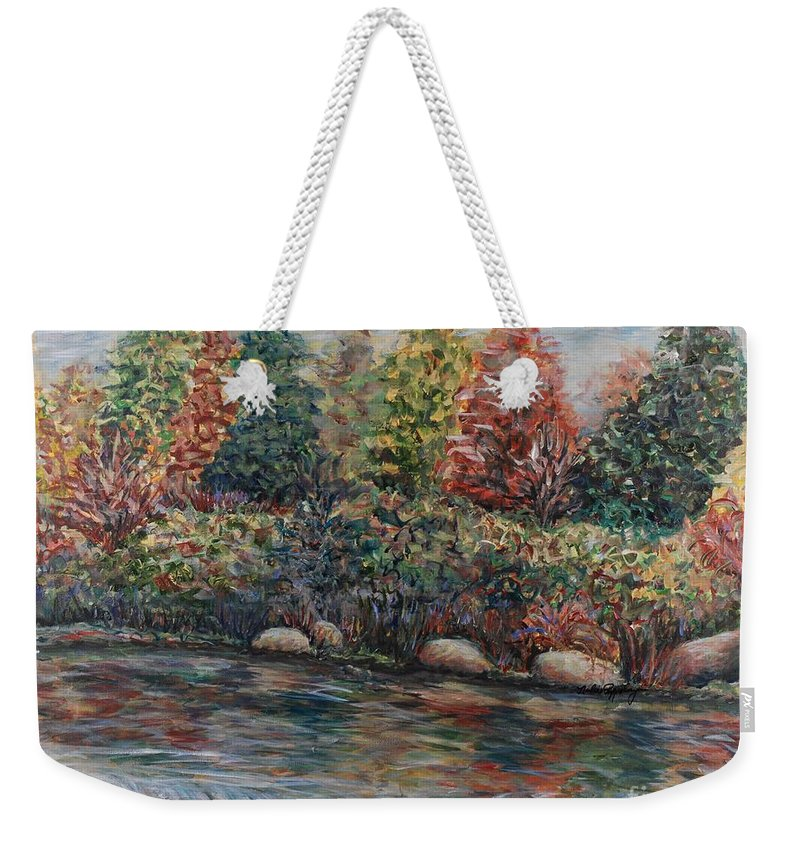 Autumn Weekender Tote Bag featuring the painting Autumn Stream by Nadine Rippelmeyer