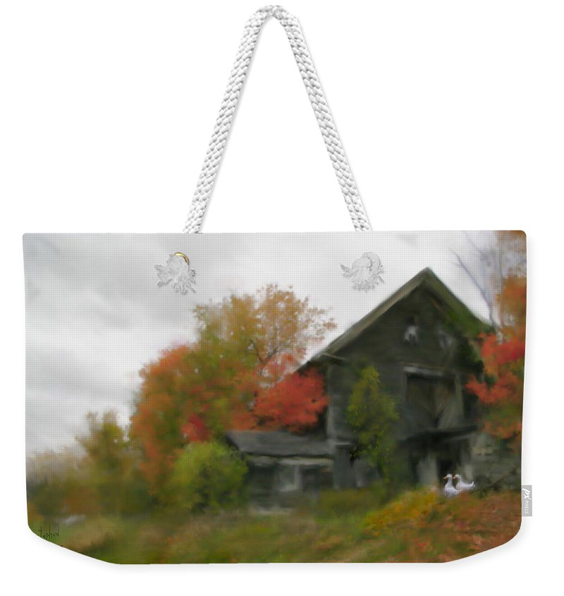Nature Weekender Tote Bag featuring the painting Autumn Stroll by Stephen Lucas