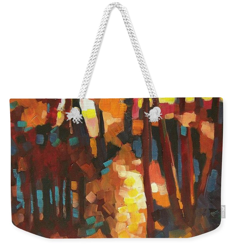 Contemporary Landscape Weekender Tote Bag featuring the painting Autumn Sunlight by Mary McInnis