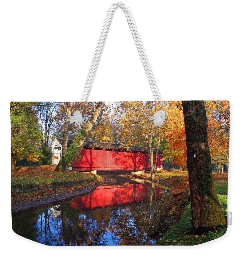 Covered Bridge Weekender Tote Bag featuring the photograph Autumn Sunrise Bridge II by Margie Wildblood