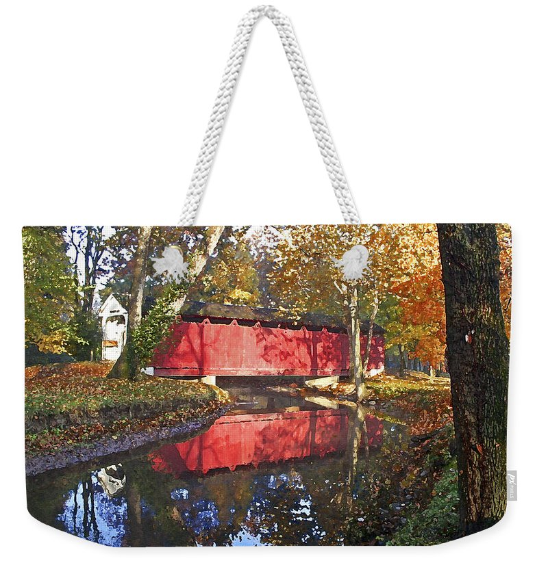 Covered Bridge Weekender Tote Bag featuring the photograph Autumn Sunrise Bridge by Margie Wildblood