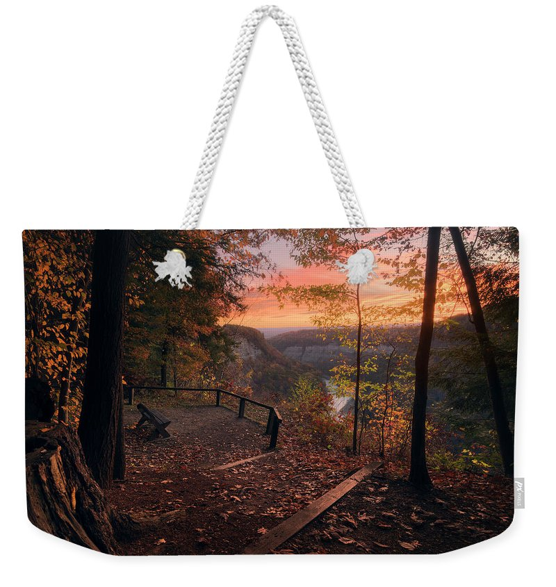 Autumn Weekender Tote Bag featuring the photograph Autumn Sunrise by Dustin Schwartzmeyer