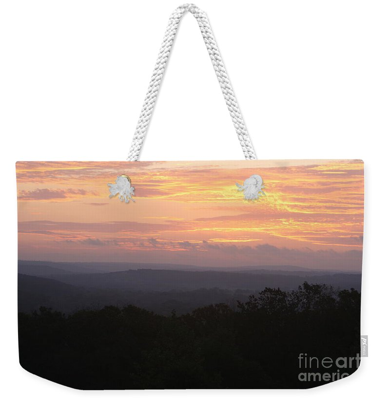 Sunrise Weekender Tote Bag featuring the photograph Autumn Sunrise Over The Ozarks by Nadine Rippelmeyer