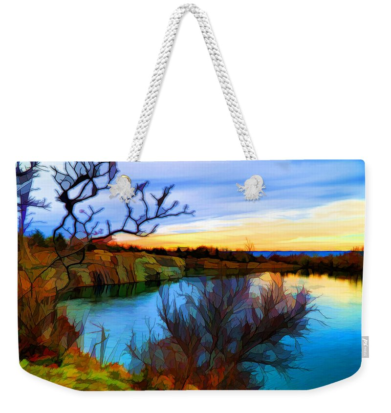 Digital Painting Weekender Tote Bag featuring the digital art Autumn Sunset by Lilia D