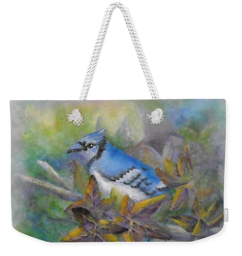 Autumn Weekender Tote Bag featuring the painting Autumn Sweet Gum With Blue Jay by Sheri Hubbard