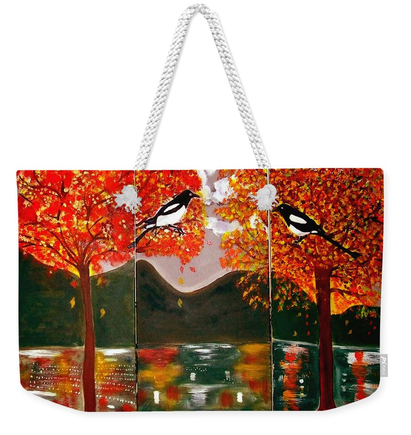 Landscape Weekender Tote Bag featuring the painting Autumn Trilogy by Rusty Gladdish