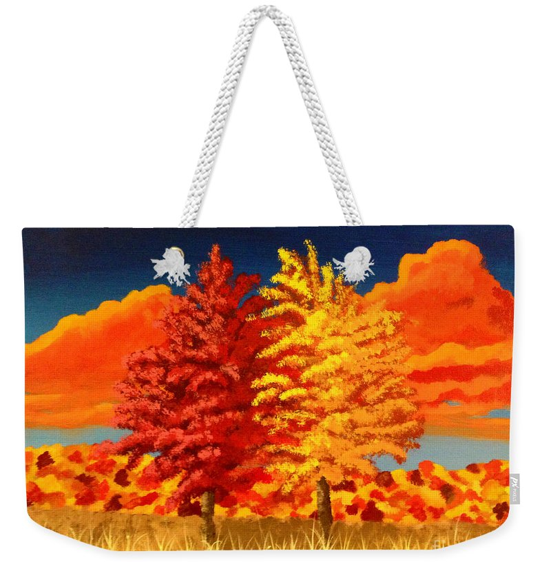 Acrylic Weekender Tote Bag featuring the painting Autumn Twins by Joseph Finchum