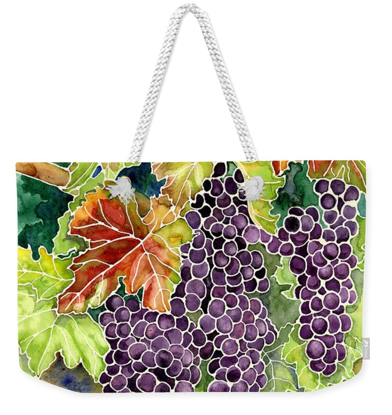 Cabernet Sauvignon Grapes Weekender Tote Bag featuring the painting Autumn Vineyard In Its Glory - Batik Style by Audrey Jeanne Roberts