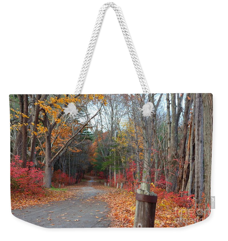 Fall Weekender Tote Bag featuring the photograph Autumn Walk At West Thompson Lake by Neal Eslinger