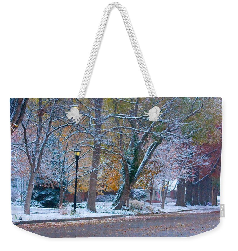 Street Weekender Tote Bag featuring the photograph Autumn Winter Street Light Color by James BO Insogna